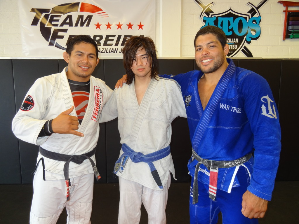 My instructor Carlos Diego Ferreira, me and Andre Galvao from a seminar April 2016.